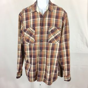 Lucky Brand Mens Shirt Size Large Brown Plaid